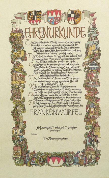 Frankenwürfel Urkunde