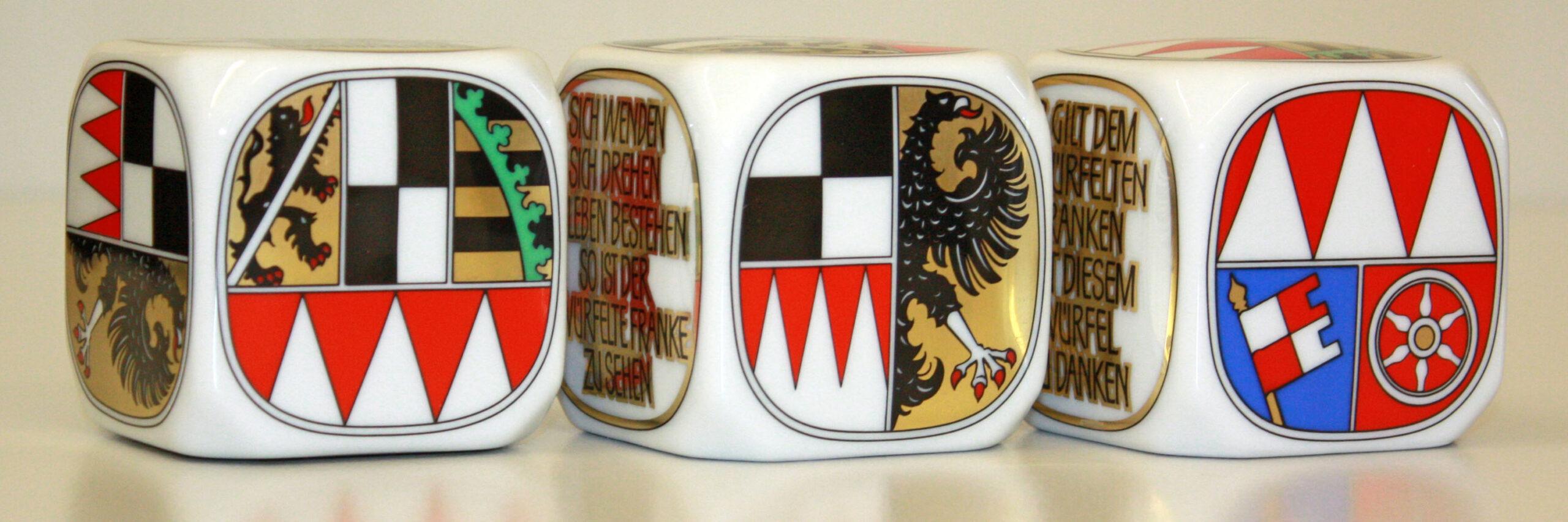Frankenwürfel mit den drei Wappenseiten