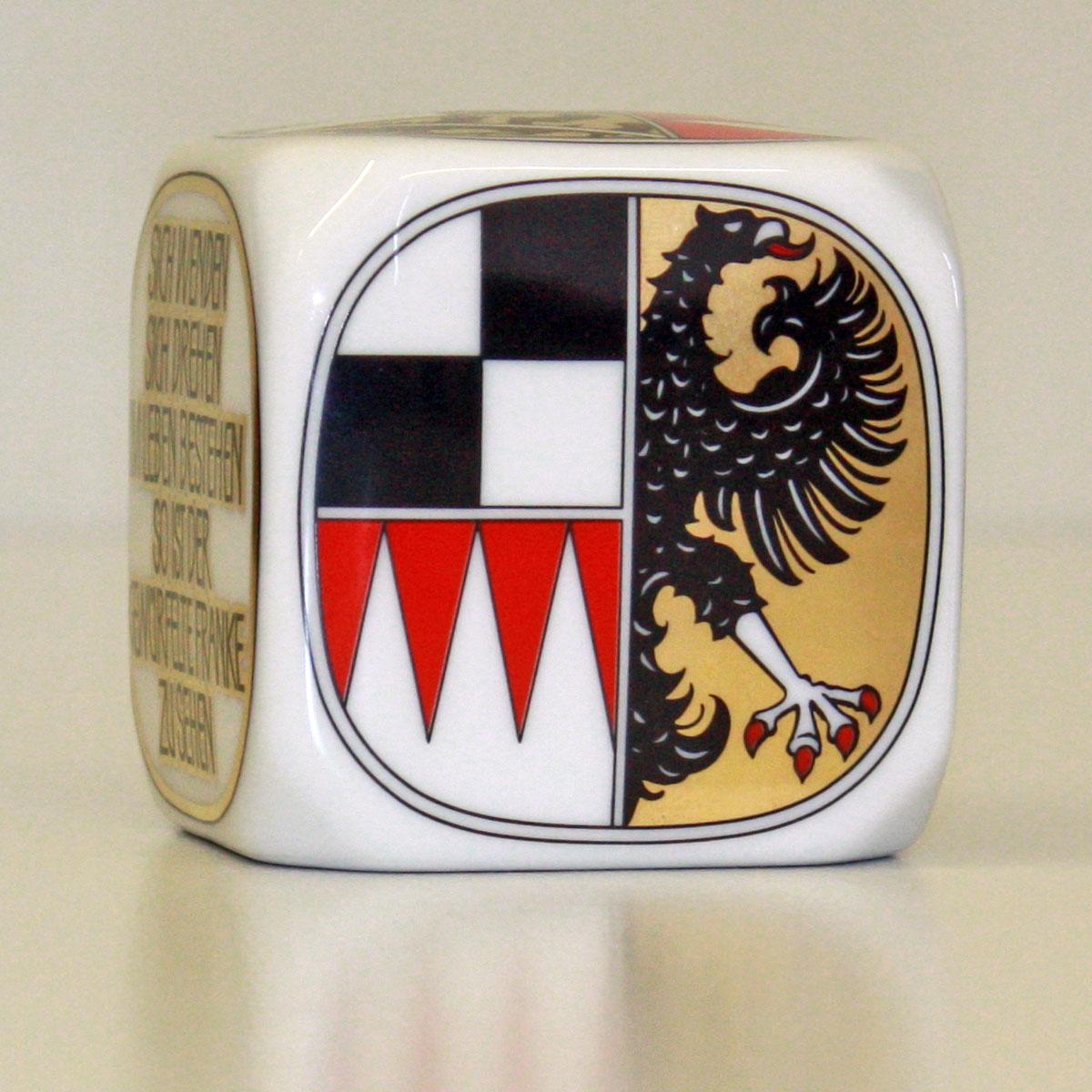 Frankenwürfel mit dem Wappen von Mittelfranken